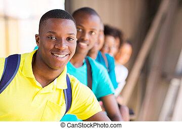 macho, amigos, estudante, africano