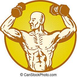 macho, anatomia humana, construtor corpo, flexionando...