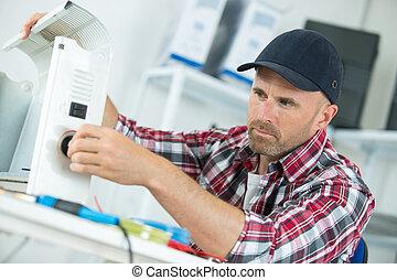 macho, ar condicionado, técnico