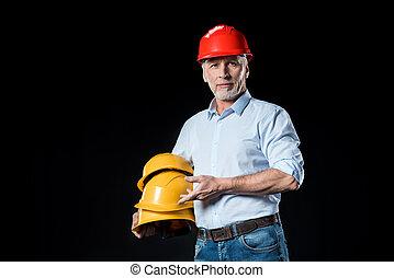 macho, arquitecto, en, casco, tenencia, cianotipo, en, negro