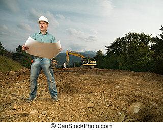 macho, arquitecto, lectura, cianotipo, en, worksite