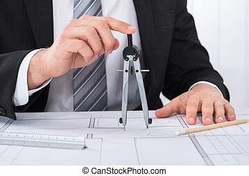 macho, arquitecto, manos, tenencia, compás, en, cianotipo