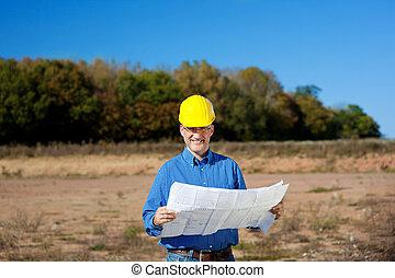 macho, arquitecto, tenencia, cianotipo, en, interpretación el sitio
