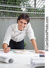macho, arquitecto, trabajo encendido, cianotipo