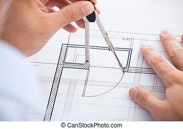 macho, arquitecto, utilizar, divisor, en, cianotipo