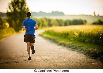 macho, athlete/runner, executando, ligado, estrada