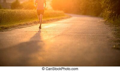 macho, athlete/runner, executando, ligado, estrada, -,...
