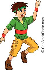 macho, bailarín, joven, ilustración