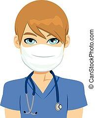 macho branco, enfermeira