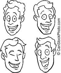 macho branco, pretas, caricatura, caras