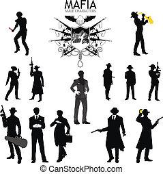 macho, caracteres, siluetas, retro, mafia, conjunto