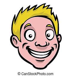 macho, caricatura, cabeza