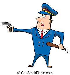 macho, caricatura, policia