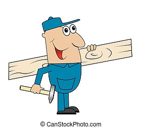 macho, carpinteiro, tábua