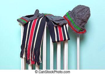 macho, chapéu, echarpe, e, luvas, secar, ligado, um, radiador