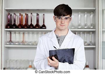 macho, ciência, estudante, escrita, ligado, um, área de transferência
