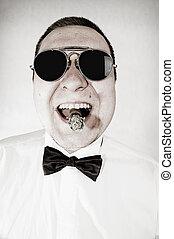 macho, cigare, lunettes soleil, homme