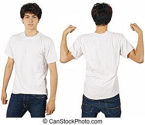 macho, com, em branco, camisa branca