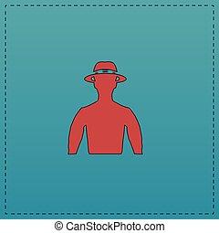 macho computer symbol - macho Red vector icon with black...
