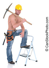 Macho construction worker - Handsome young topless...