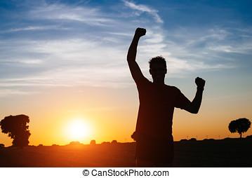 macho, corredor, éxito, y, victoria