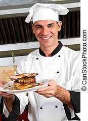macho, cozinheiro, apresentando, alimento