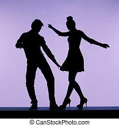 macho, dançarino, flertar, com, excitado, mulher