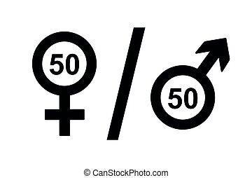 macho, derechos, igual, icono, concepto, símbolo femenino
