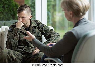 macho, en, ejército, uniforme