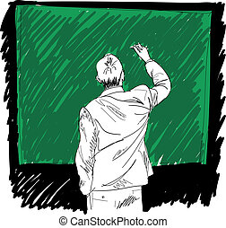macho, escritura, algo, en, board., vector, ilustración