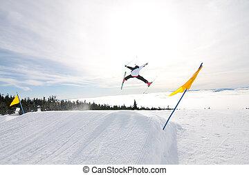 macho, esquiador, presas, grande, ar.