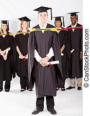 macho, estudante universitário, em, graduação
