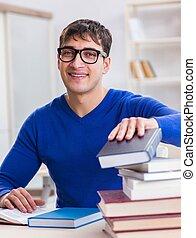 macho, exámenes, biblioteca, preparando, estudiante, colegio