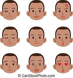 macho, expresión, facial