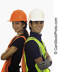 macho fêmea, hardhat, trabalhadores
