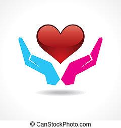 macho fêmea, mão, proteja, coração