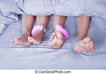 macho fêmea, pernas, algemada, sexo, toy., azul