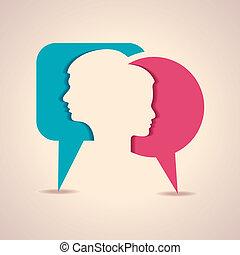 macho fêmea, rosto, com, mensagem, b