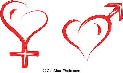 macho fêmea, sexo, coração, símbolo