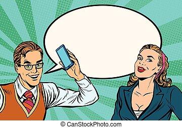 macho fêmea, telefone móvel, diálogo