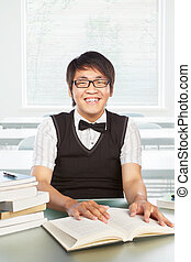 macho, faculdade, chinês, estudante