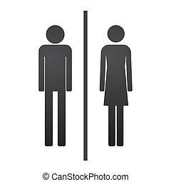 macho, femininas, pictograma