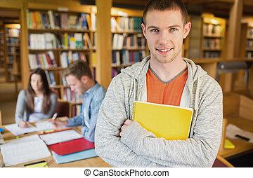 macho, fundo, biblioteca, estudante, outros