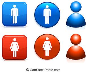 macho, hembra, iconos