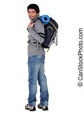 macho, hiker, com, mochila