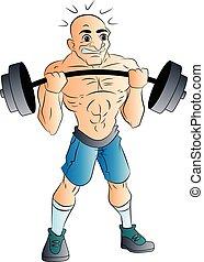 macho, ilustración, halterófilo