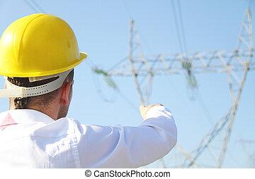 macho, ingeniero, posición, en, electricidad, estación