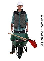 macho, jardineiro paisagem