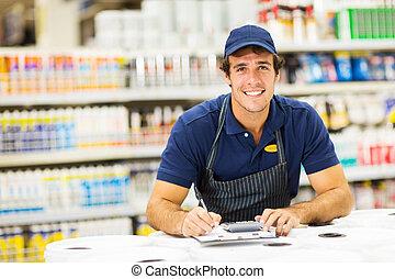 macho, loja de ferragens, trabalhador