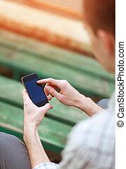 macho, mão, usando, um, esperto, telefone., modernos,...